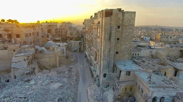 A still image from video taken October 12, 2016 of a general view of the bomb damaged Old City area of Aleppo, Syria. Video released October 12, 2016.      REUTERS/via ReutersTV